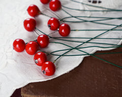 Red Berries - Mini Spun Cotton Berry Picks, 12 Pcs.