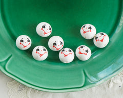Spun Cotton Heads: FROSTY - Vintage-Style Jolly Snowman Heads with Faces