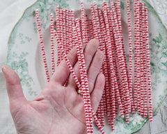 Stiff Bristle Pipe Cleaners - Red and Cream Candy Cane Striped Chenille Stems, Bundle of 36