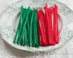 Stiff Bristle Pipe Cleaners - Red and Green Christmas Chenille Stems, Bundle of 36