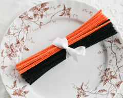 Stiff Bristle Pipe Cleaners - Pumpkin Orange and Black Halloween Chenille Stems, Bundle of 36