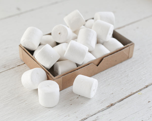 Spun Cotton Cylinders - 25mm Marshmallow / Drum Craft Shapes, 8 Pcs.