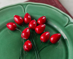 Spun Cotton Rose Hips - Vintage Style Floral Stems, 10 pcs.