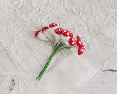 Miniature Plaster Mushrooms - One Dozen Red Mushroom Craft Stems