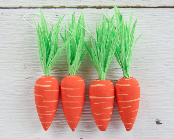 Spun Cotton Carrot Ornaments - Set of 4 Miniature Carrot Easter Decorations
