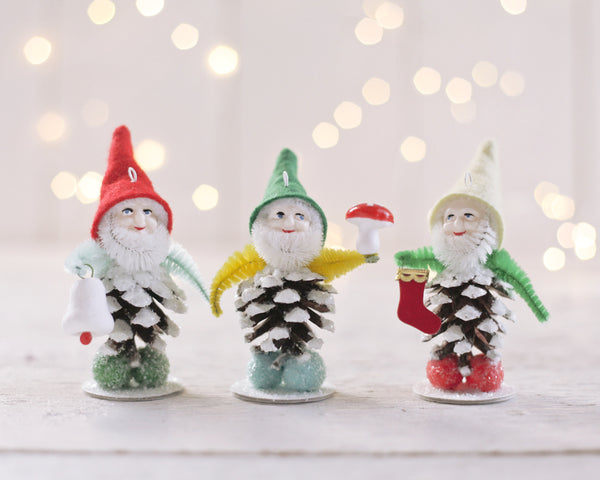 Pine Cone Elves - Boxed Set - 3 Vintage Style Christmas Ornaments