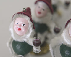 Merrymaker Elf - Vintage Style Spun Cotton Christmas Gnome Ornament