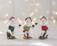 Merrymaker Elves - Boxed Set - 3 Wine Drinking Christmas Elf Ornaments
