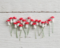 Miniature Old Style German Spun Cotton Mushrooms - 12x20mm Red Toadstools, 18 Pcs.