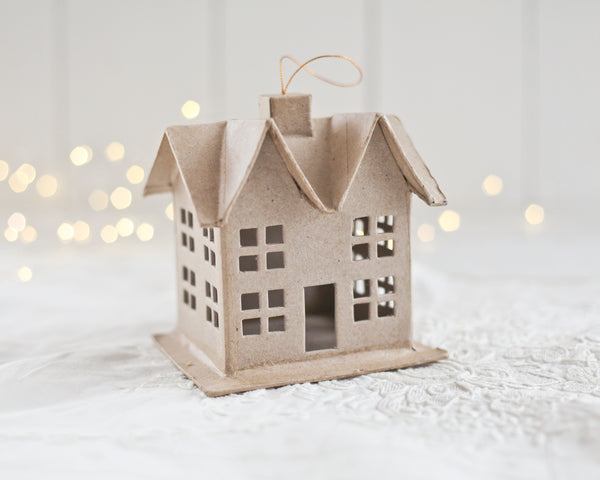 Paper Mache House Ornament - Hanging Cardboard Craft House