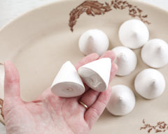Spun Cotton Cones, 40mm Rounded Cone Craft Shapes, 8 Pcs.