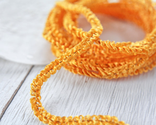 Curly Chenille - Vintage Golden Yellow Loopy Angel Hair Wired Trim, 3 Yds.