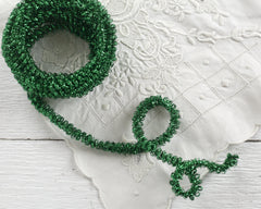 Curly Wired Tinsel Trim - Vintage Green Loopy Metallic Christmas Craft Ribbon, 4 Yds.