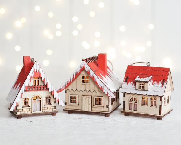 Alpine Village Houses - Set of 3 Lighted Wooden Christmas House Ornaments