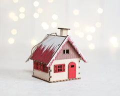 Alpine House Ornament - Wooden Christmas Cabin