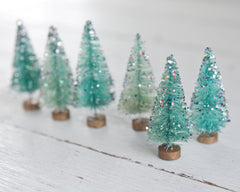 Glitter Trees - Sparkly Miniature Bottle Brush Trees with Vintage Aluminum Glitter, 6 Pcs.