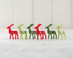 Miniature Christmas Deer - 6 Red and Green Plastic Reindeer with Glitter