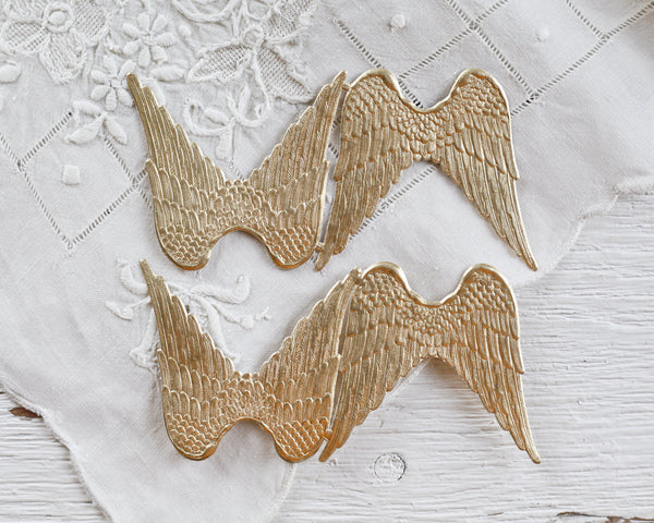 Paper Angel Wings - Embossed Gold Foil Die Cut Dresden Paper Wings, 4 Pcs.