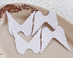 Paper Angel Wings - Embossed White Die Cut Dresden Paper Wings, 4 Pcs.