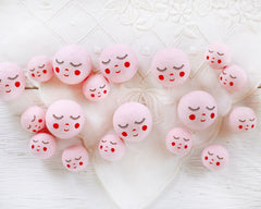 Pink Spun Cotton Heads: SWEET ANGEL - Vintage-Style Cotton Angel Heads with Faces