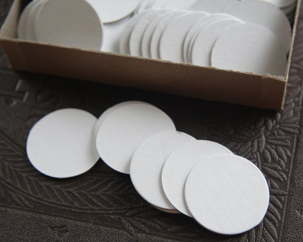 White Chipboard Circles - 1 1/2 Inch Diameter Die Cut Cardboard Rounds, 10 Pcs.