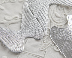 Paper Angel Wings - Embossed Silver Foil Die Cut Dresden Paper Wings, 4 Pcs.