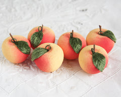 Apple Ornaments - Vintage Style Spun Cotton Fruit, 6-Piece Boxed Set