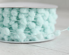 Pom Pom Garland - Aqua Blue Wired Craft Trim, 25 Yard Spool