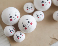 Spun Cotton Heads: BASHFUL - Vintage-Style Cotton Doll Heads with Faces
