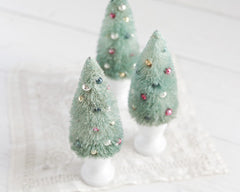 Fancy Bottle Brush Christmas Tree - Minty Sisal Tree with Vintage Glass Beads