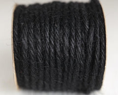 Macrame Cord - 5 Ply Jute, Pure Black Rope, 25 Yards