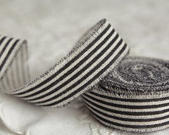 "Black Striped Linen Ribbon - 1"" Rustic Frayed Edge Fabric Ribbon Roll, 5 Yds"