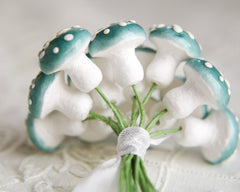 blue spun cotton mushrooms