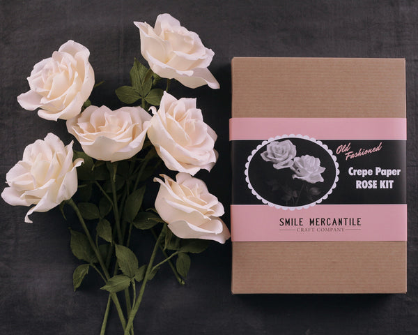 Crepe Paper Rose Kit - Makes 6 Old Fashioned Crepe Paper Flowers - Pale Blush