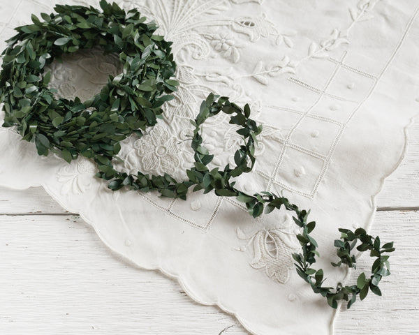 Shabby Boxwood Garland - 12 Feet, Mini Topiary Wired Cord