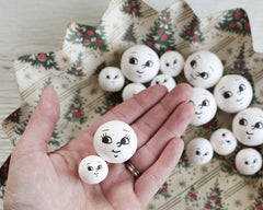 Spun Cotton Heads: BRIGHT EYES - Vintage-Style Craft Heads with Faces