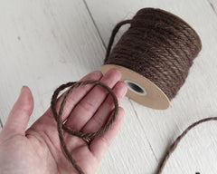 Macrame Cord - 5 Ply Jute Rope, Chocolate Brown, 25 Yards