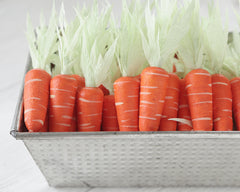 Spun Cotton Carrots - Set of 6 Miniature Carrot Easter Decorations