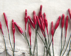 Red Stamens - 24 Glossy Lacquered Plaster Flower Stamens on Wire Stems