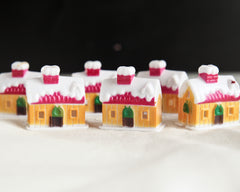 Miniature Plastic Houses - 6 Tiny Christmas Cottage Craft Figurines