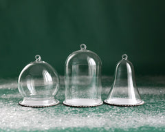 Glass Dome Ornament – Hanging Dome with Chipboard Base