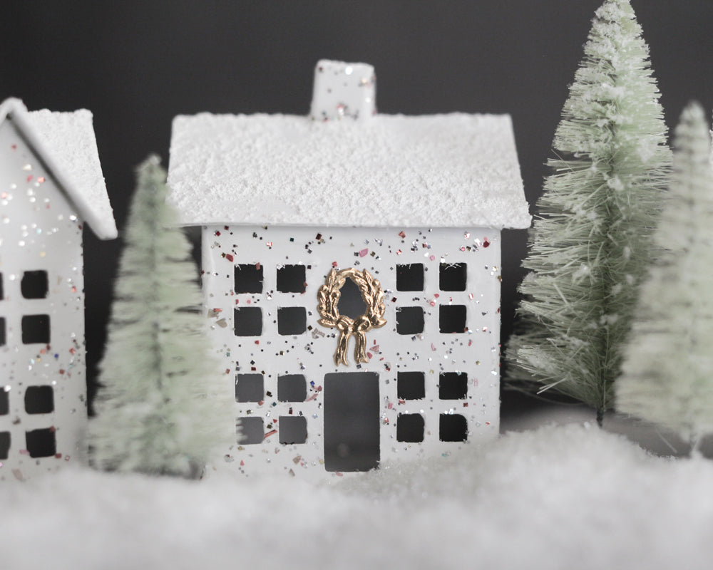 Cardboard Christmas Houses.Glitter House Christmas Village 5 Piece Cardboard House Set With Trees And Snow
