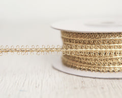 Gold Trim - Vintage Style Metallic Braid Picot Ribbon, 25 Yds