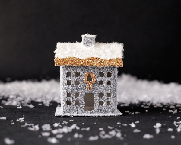 Winter House - Stone Gray and Gold Vintage Style House Christmas Decoration
