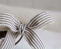 "Gray Striped Linen Ribbon - 1"" Rustic Frayed Edge Fabric Ribbon Roll, 5 Yds"