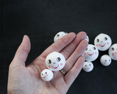 Spun Cotton Heads: GRIN - Vintage-Style Cotton Doll Heads with Smiling Faces