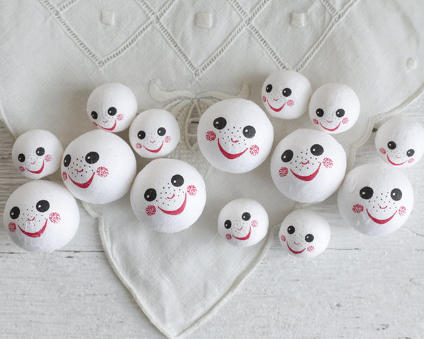 Spun Cotton Heads: FRECKLES - Vintage-Style Cotton Doll Heads with Faces