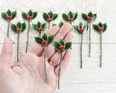 Holly Picks - Vintage Style Lacquered Craft Holly Leaves and Berries
