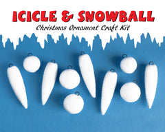 Icicle and Snowball Ornament Kit - Vintage Inspired Spun Cotton Christmas Craft Kit