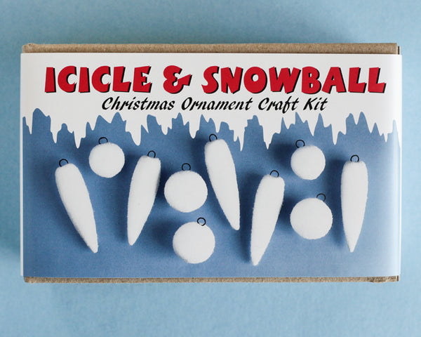 Icicle and Snowball Ornament Kit - Spun Cotton Christmas Craft Kit